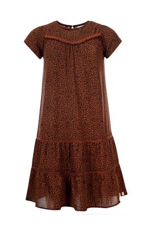 A-lijn jurk met panterprint en volant bruin/zwart