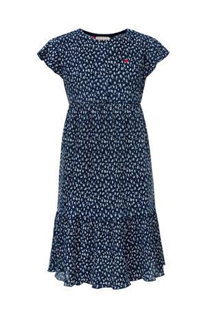 gebloemde A-lijn jurk donkerblauw/wit