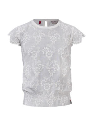 top met all over print en borduursels off white