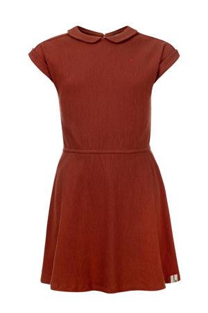 jurk met plooien pecan bruin