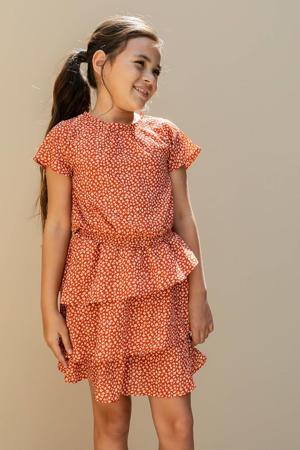 jurk met all over print en volant terra/lichtroze