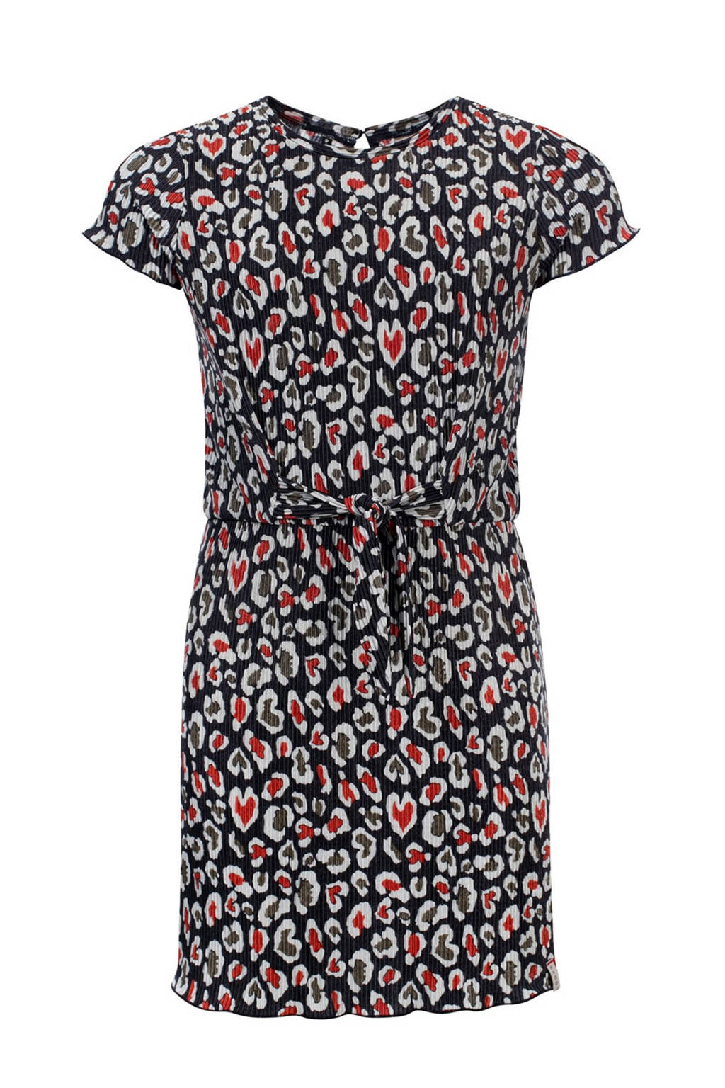 LOOXS 10sixteen jurk met all over print zwart/rood/wit, Zwart/rood/wit