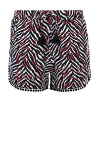 LOOXS 10sixteen slim fit short met zebraprint zwart/rood/wit, Zwart/rood/wit