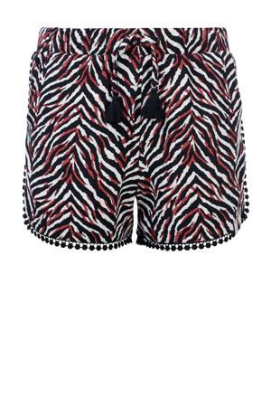 slim fit short met zebraprint zwart/rood/wit