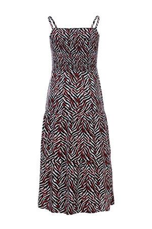 maxi jurk met zebraprint zwart/rood/wit