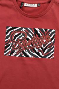 LOOXS 10sixteen T-shirt met printopdruk roodbruin, Roodbruin
