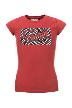 T-shirt met printopdruk roodbruin