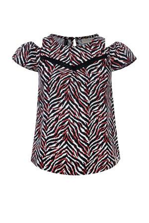 top met zebraprint zwart/rood/wit