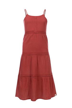 maxi jurk met volant roodbruin