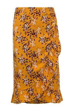 gebloemde rok warm geel/zwart