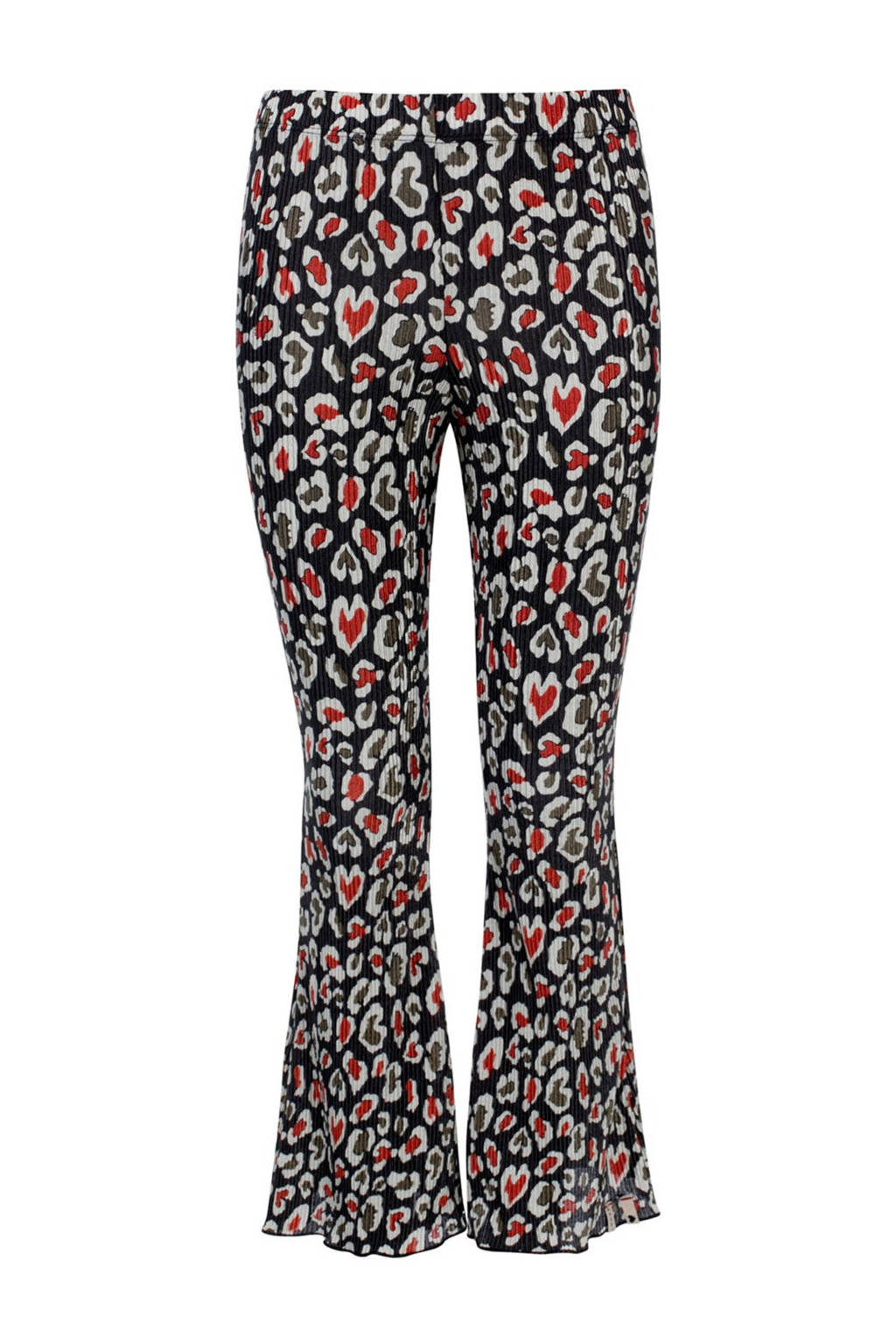 LOOXS 10sixteen flared broek met dierenprint zwart/rood/wit, Zwart/rood/wit