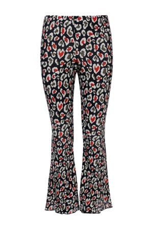 flared broek met dierenprint zwart/rood/wit