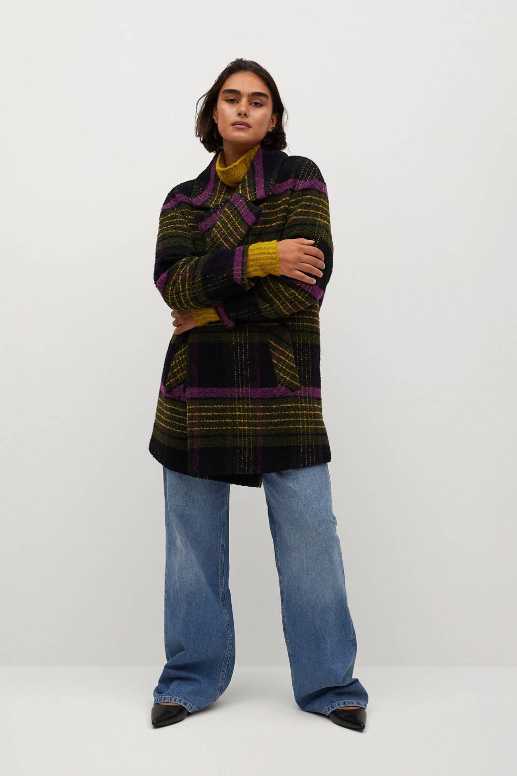 Violeta by Mango geruite  coat met wol groen/geel/paars, Groen/geel/paars