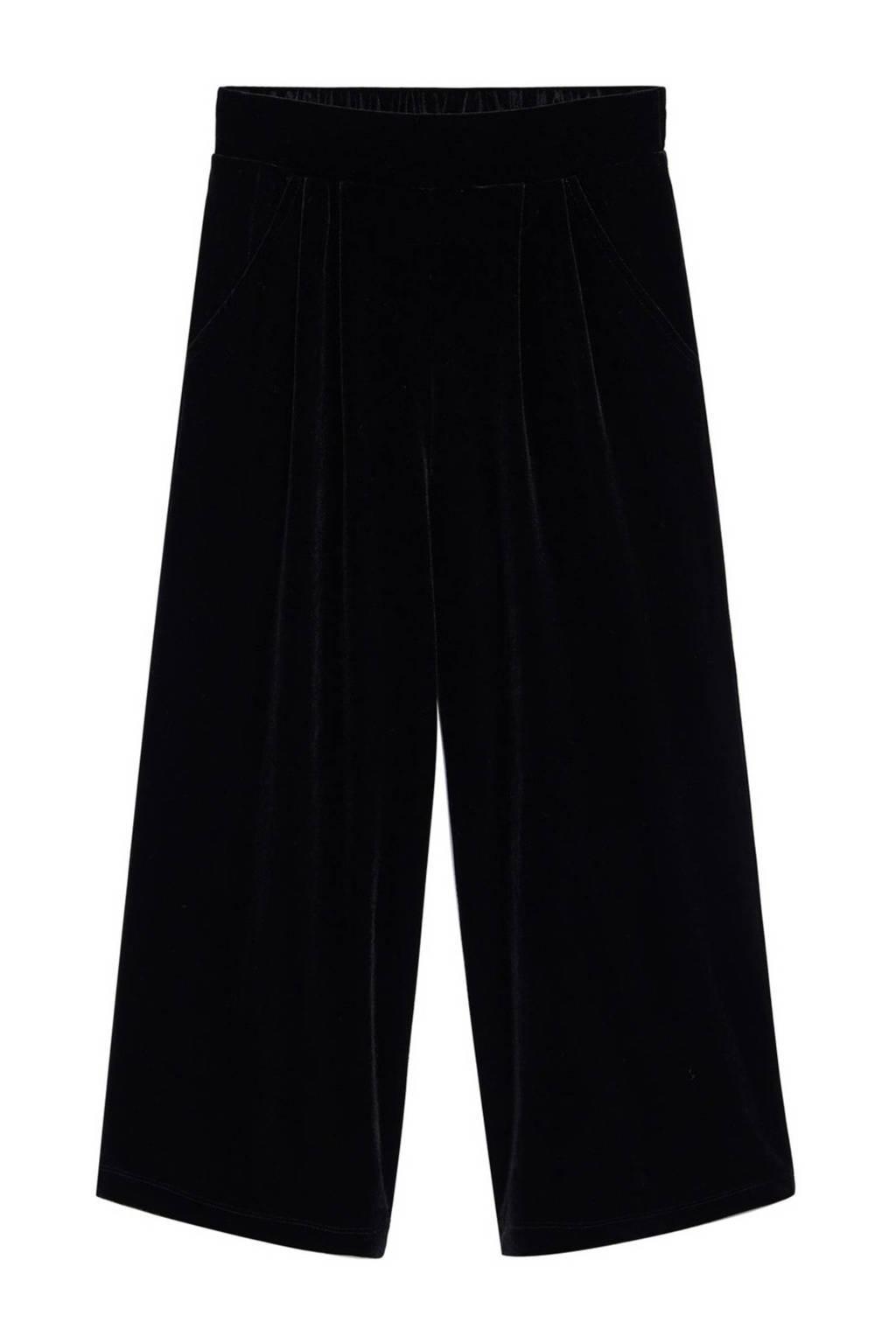 Mango Kids fluwelen cropped broek zwart, Zwart