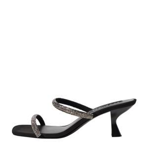 leren sandalettes met strass steentjes zwart