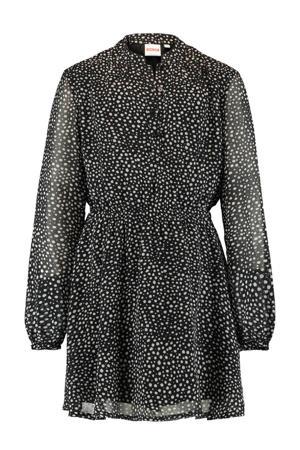 semi-transparante jurk Dilara met stippen zwart/wit