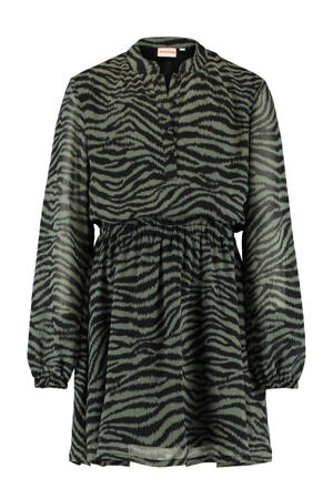 semi-transparante jurk Dilara met zebraprint groen/zwart