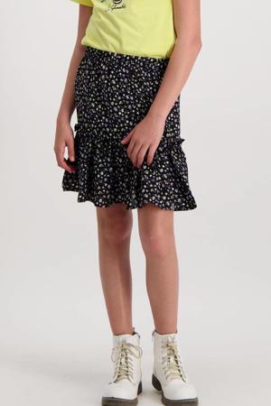 gebloemde rok Jody zwart/wit/paars