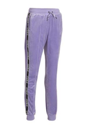 fluwelen sweatpants Icony met contrastbies lila