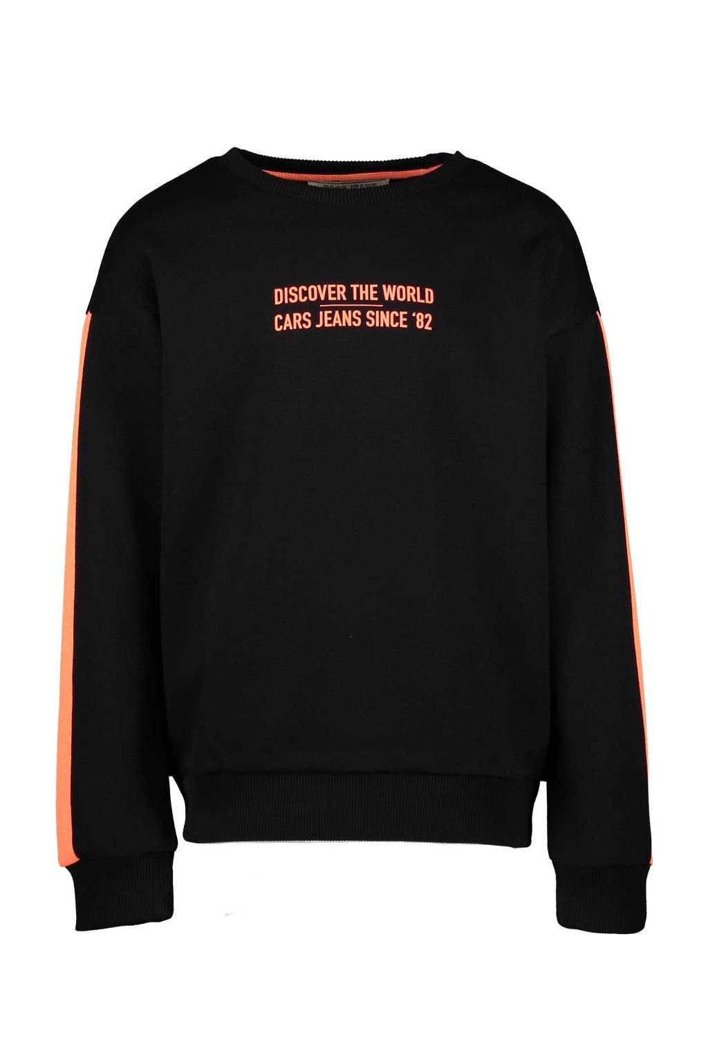 Cars sweater Georgy met contrastbies zwart/oranje, Zwart/oranje