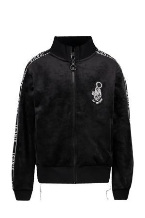 fluwelen vest Lolana met print en contrastbies zwart