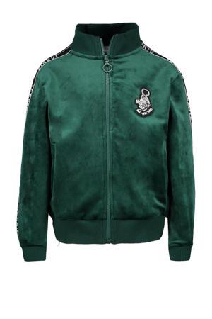 fluwelen vest Lolana met print en contrastbies groen