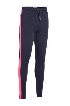 regular fit joggingbroek Sheya met zijstreep donkerblauw/fuchsia