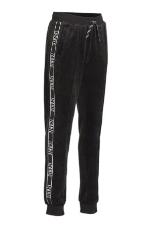 fluwelen sweatpants Icony met contrastbies zwart