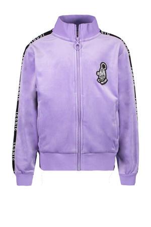 fluwelen vest Lolana met print en contrastbies lila