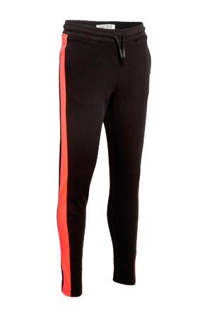 regular fit joggingbroek Sheya met zijstreep zwart/oranje