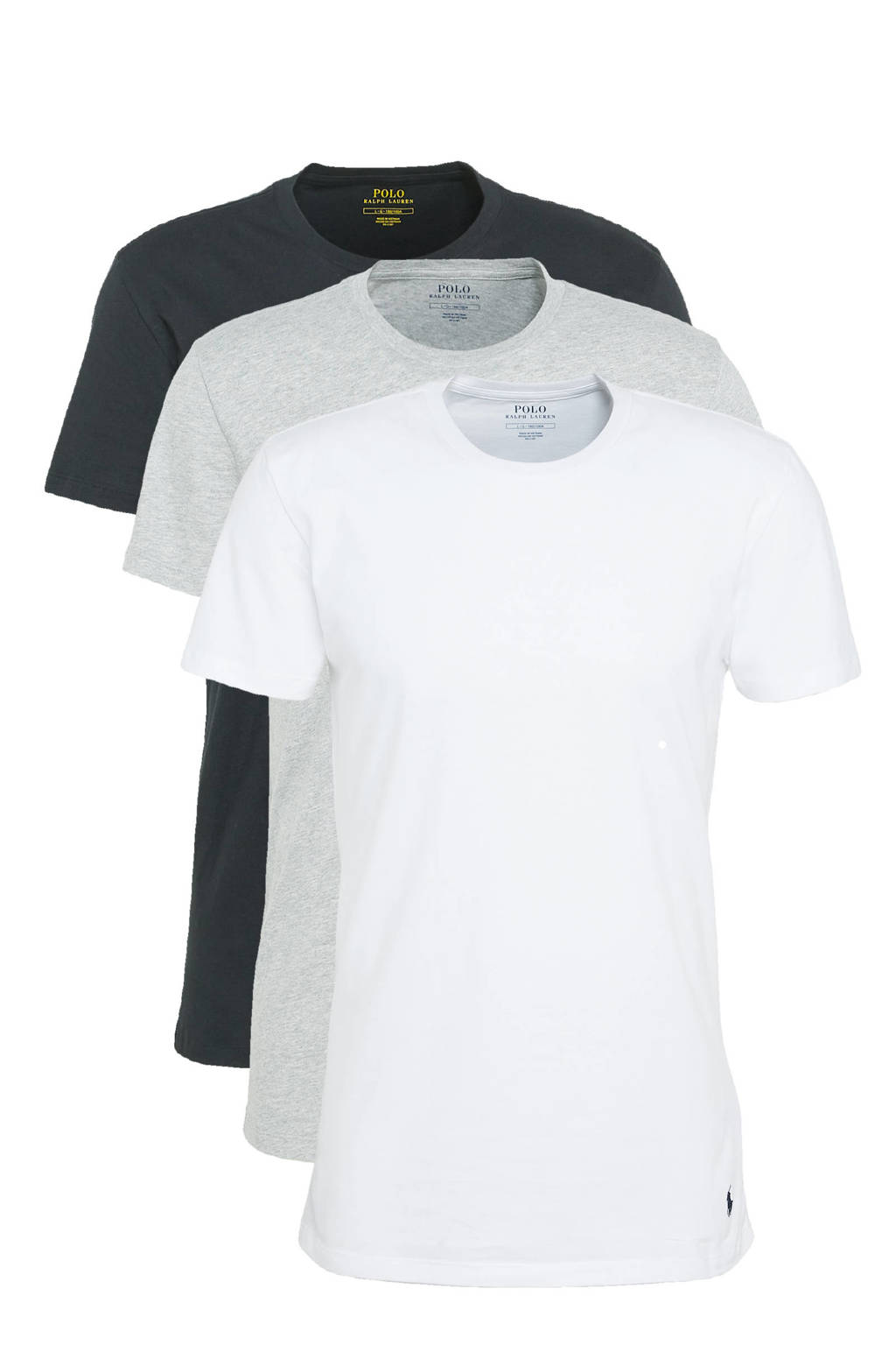 POLO Ralph Lauren T-shirt (set van 3), Wit/zwart/grijs