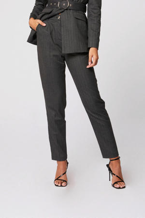 gemêleerde high waist straight fit pantalon grijs