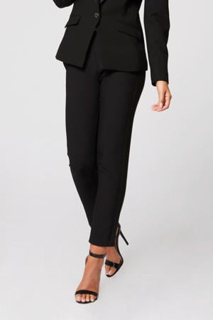 cropped straight fit pantalon zwart