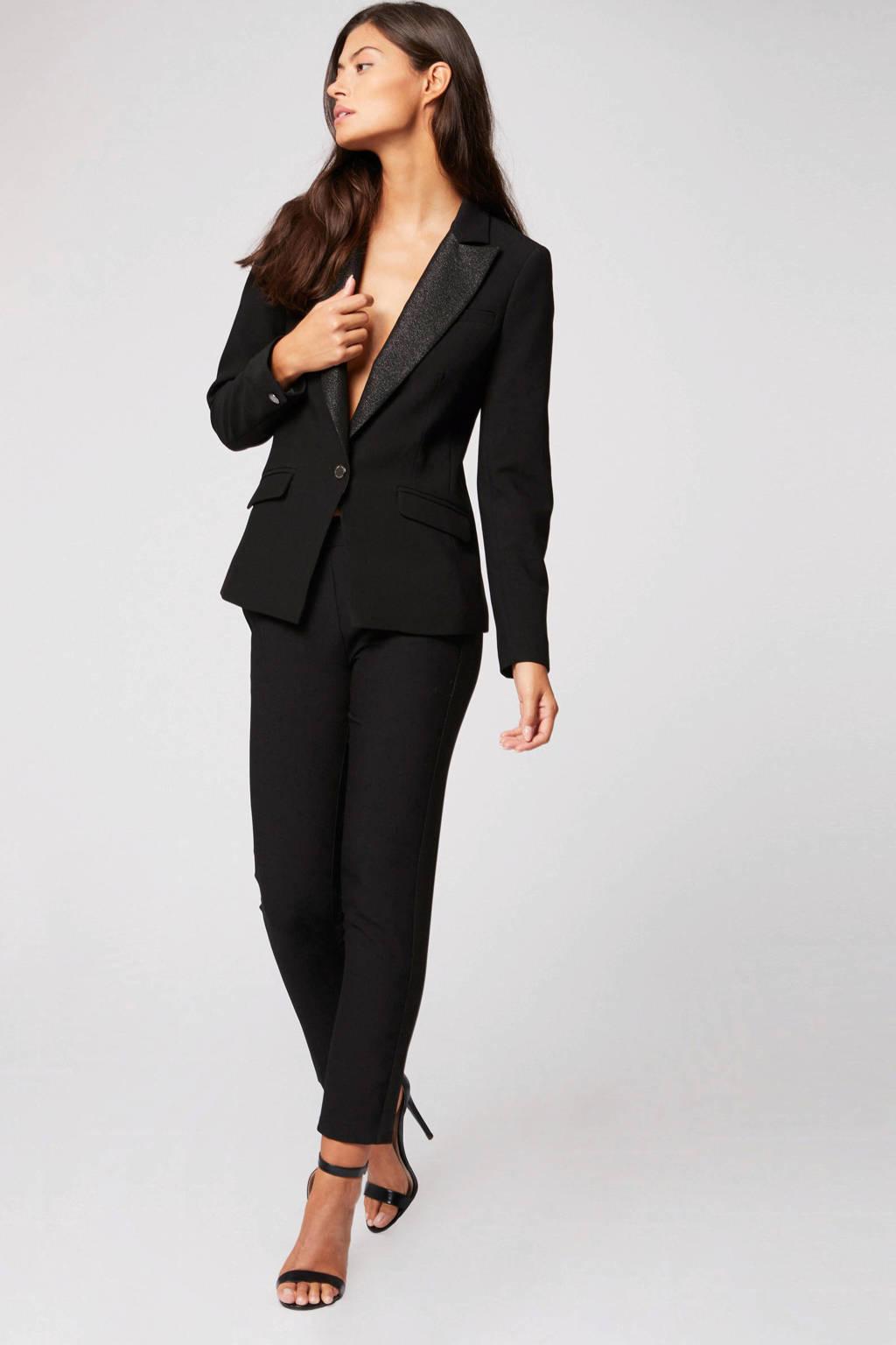 Morgan cropped straight fit pantalon zwart, Zwart