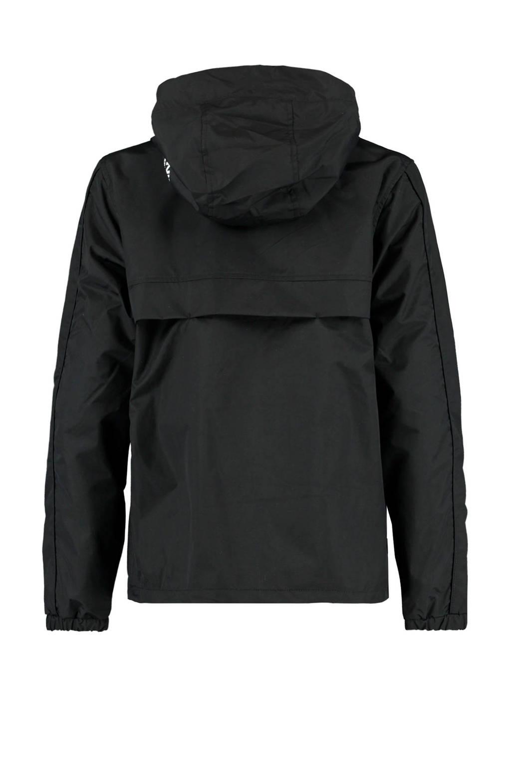 America Today Junior  zomerjas Jered met tekst zwart, Zwart