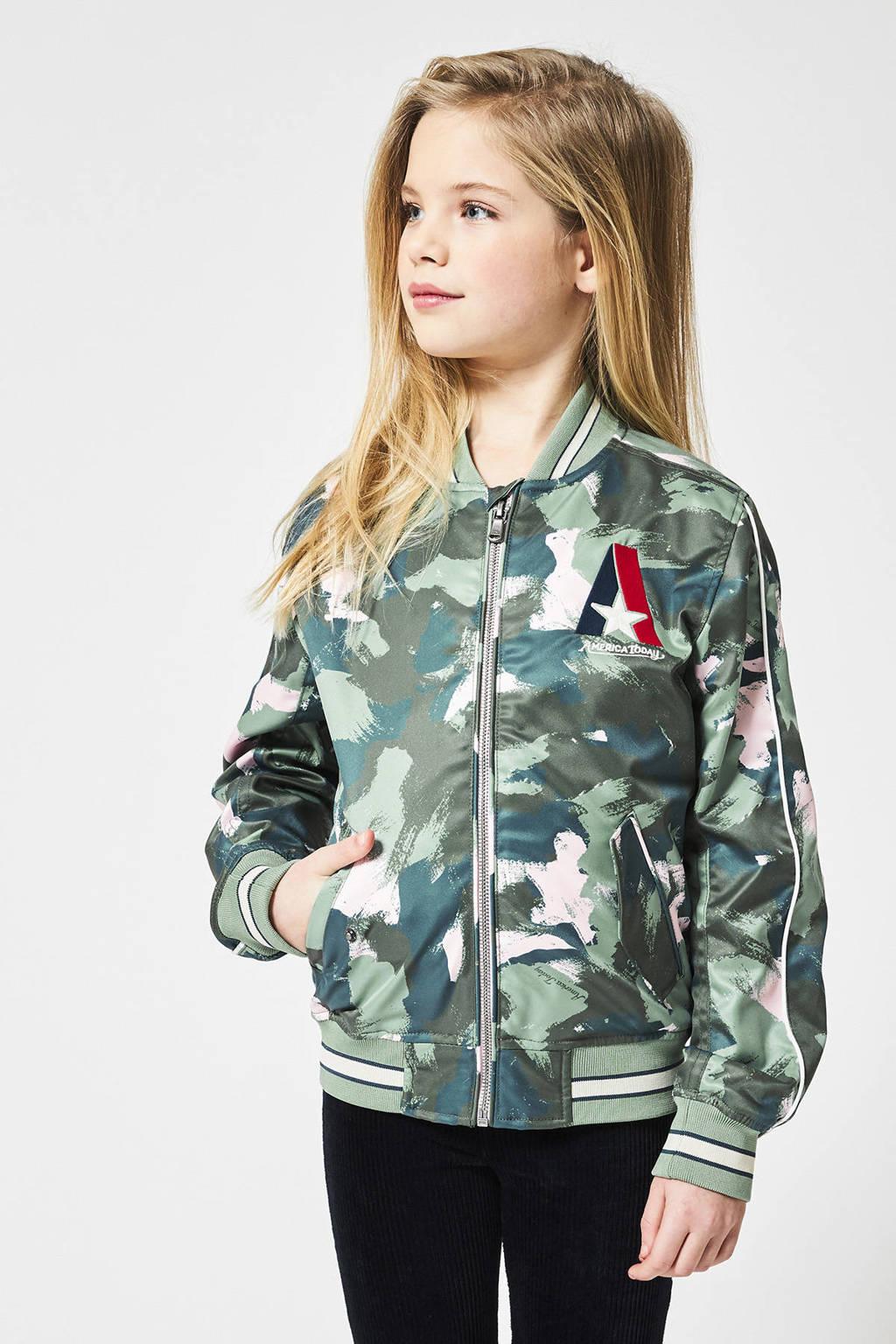 America Today Junior bomberjack tussen Jessie met contrastbies groen/roze, Groen/roze