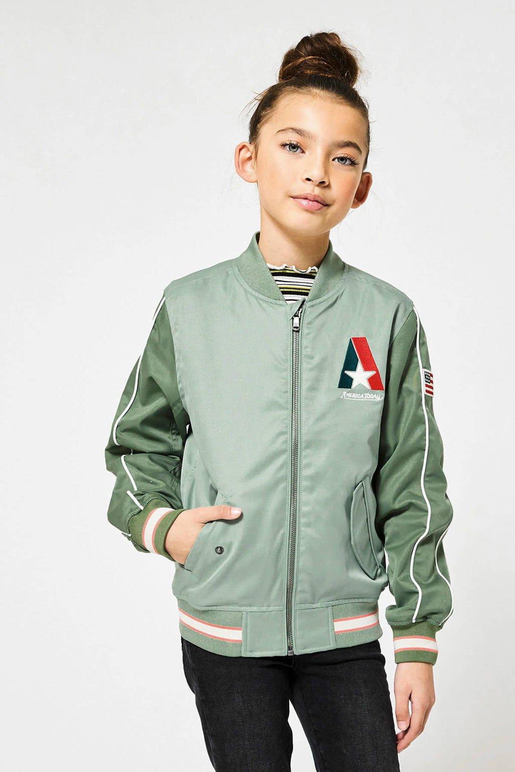 America Today Junior bomberjack tussen Jessie met contrastbies groen, Groen