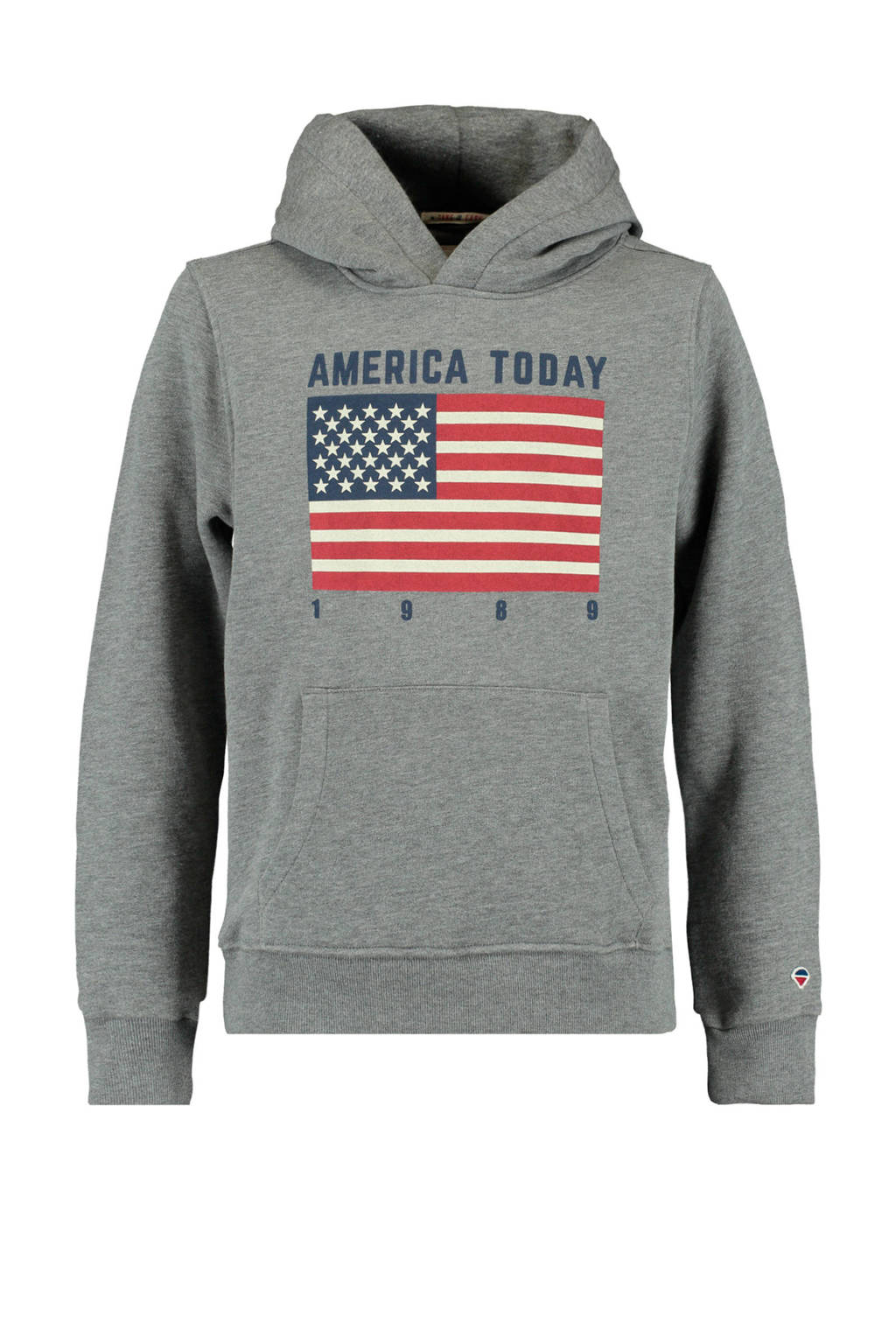 America Today Junior hoodie Sol met printopdruk grijs melange/donkerblauw/rood, Grijs melange/donkerblauw/rood
