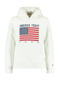 America Today Junior hoodie Sol met printopdruk ecru/rood/donkerblauw