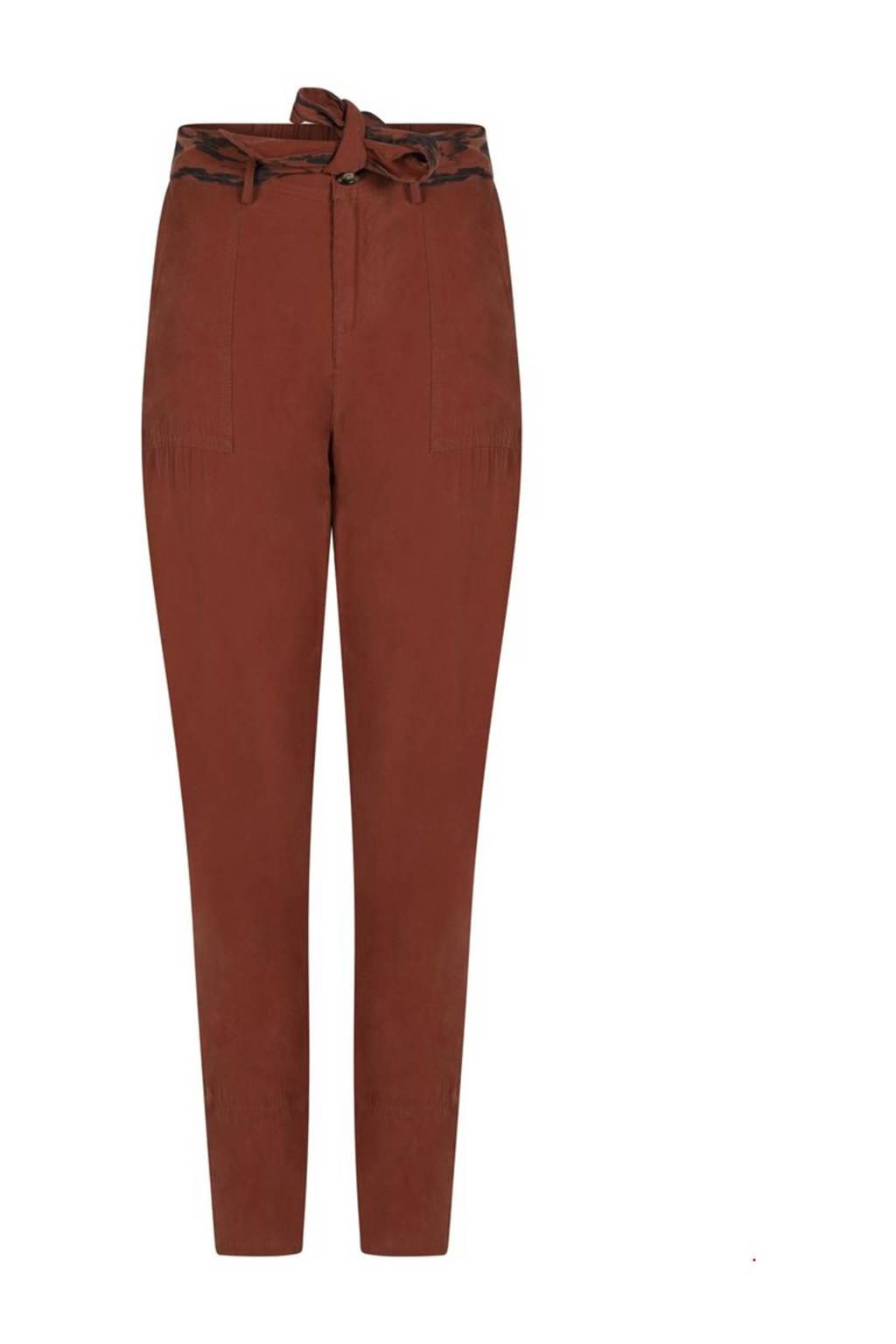 Tramontana high waist tapered fit broek cognac, Cognac