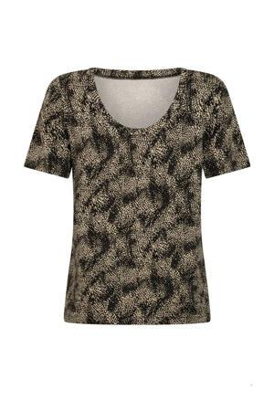 T-shirt met all over print zwart/ecru
