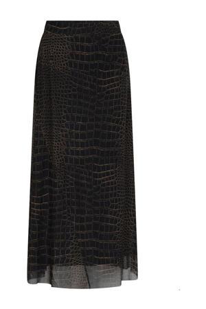 semi-transparante rok met slangenprint en mesh zwart/bruin