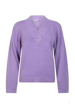 fijngebreide trui lila