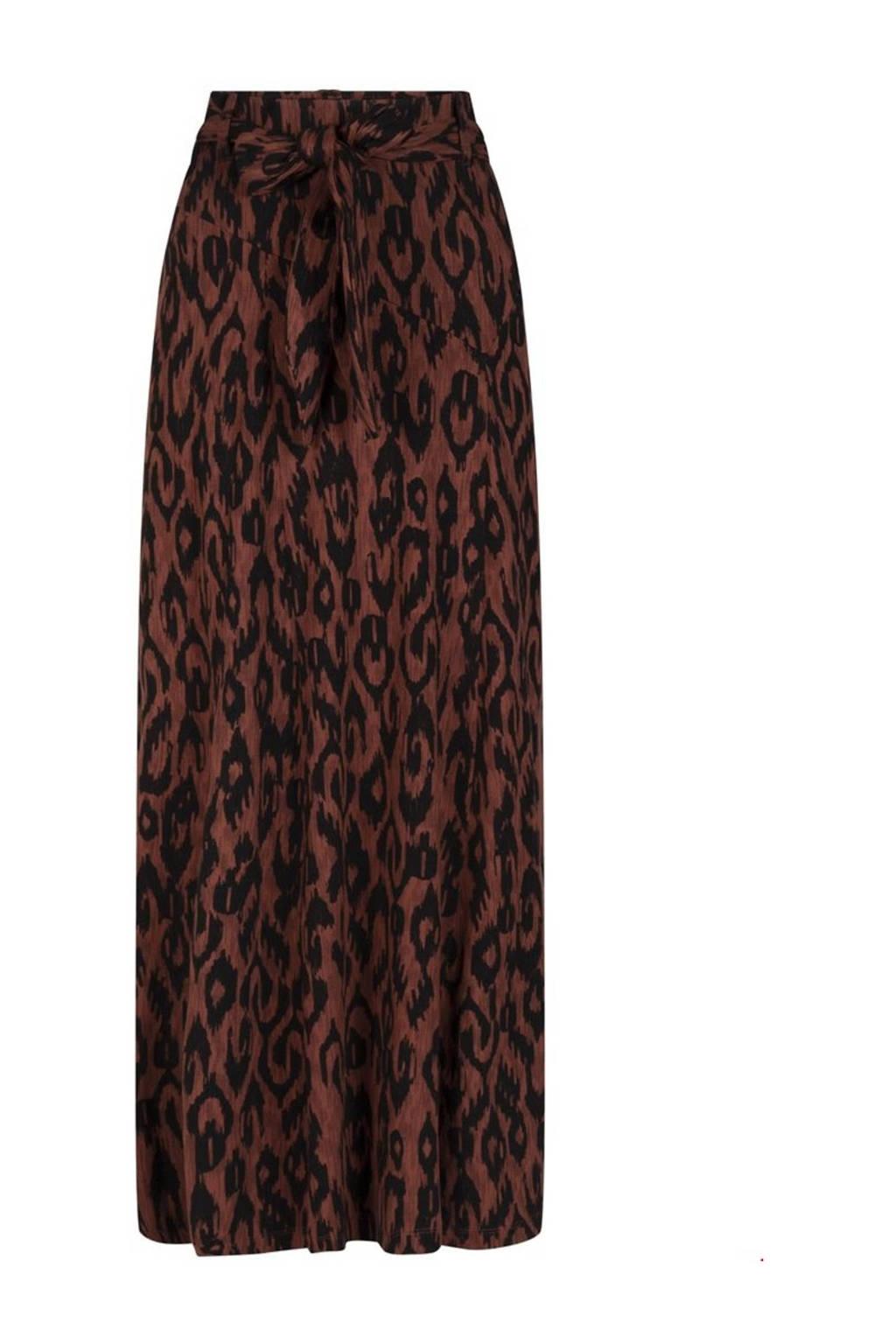Tramontana midi rok met all over print en ceintuur bruin/zwart, Bruin/zwart
