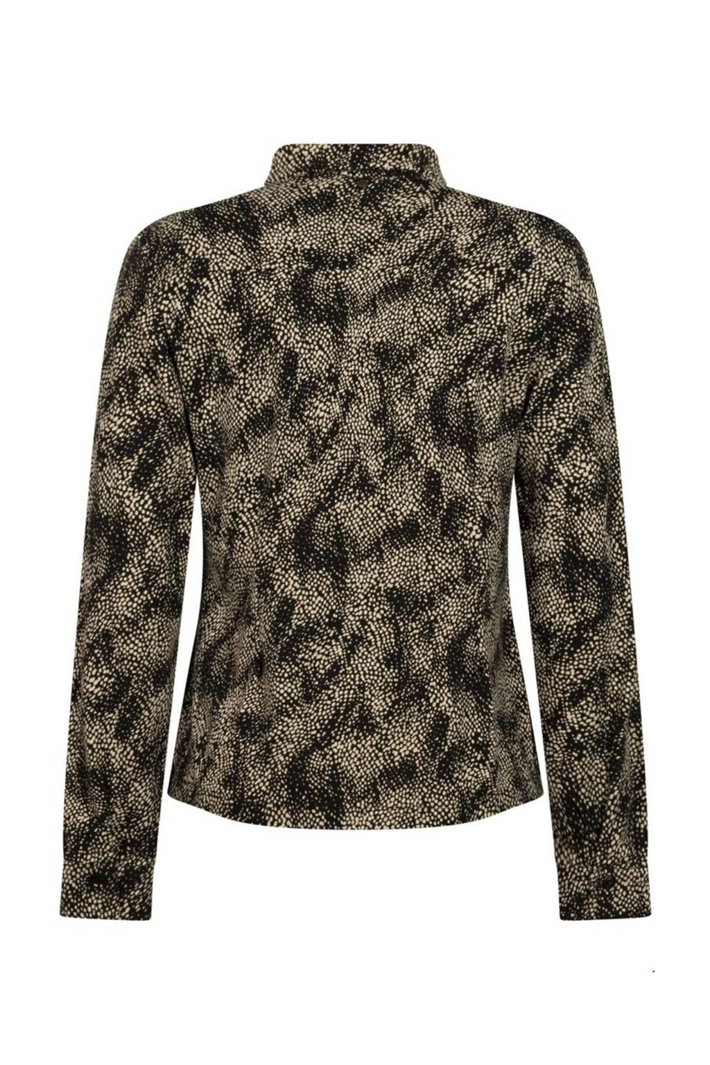 Tramontana blouse met all over print zwart/ecru, Zwart/ecru