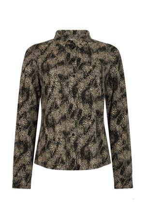 blouse met all over print zwart/ecru