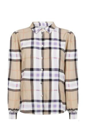 geruite blouse zand/wit/lila