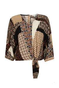Tramontana top met all over print bruin, Bruin