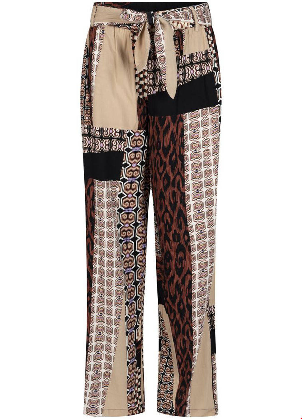 Tramontana high waist loose fit broek met all over print bruin, Bruin