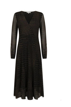 semi-transparante maxi jurk met slangenprint en mesh zwart/bruin